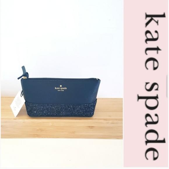 kate spade Handbags - NWT KATE SPADE BLACK GLITTER PURSE BAG ETC